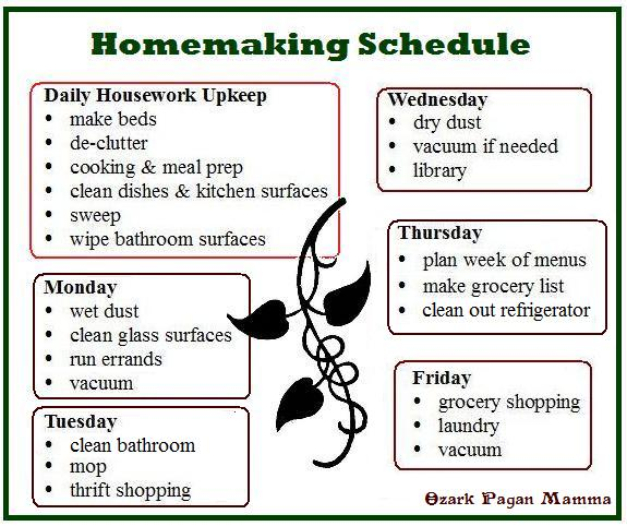 Homemaking Schedule